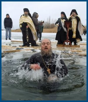 Иордань - окунулся священник