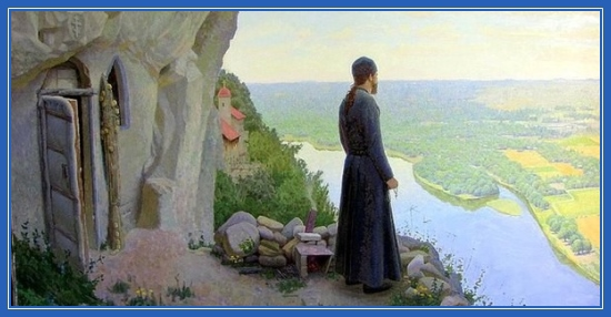 Монах, молитва, Афон, гора, келья