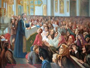 о. Иоанн Кронштадский проводит общую исповедь
