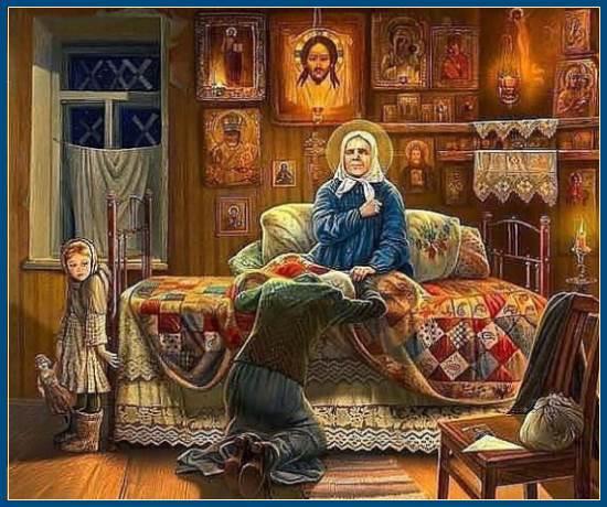 Святая Матрона принимает посетительницу