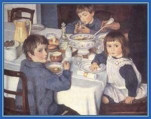 дети, обед, кушают, за столом