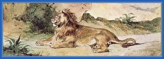 Лев, пустыня, картина