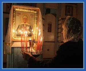 Пред иконой блаженной Матроны- святая