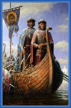 князья Борис и Глеб, на ладье