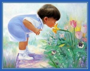 Ребенок, цветы