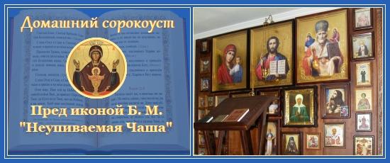 Домашний сорокоуст пред иконой Божией Матери Неупиваемая Чаша