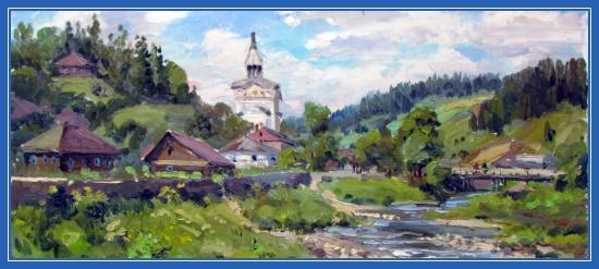 Деревня, храм, картина, Русь