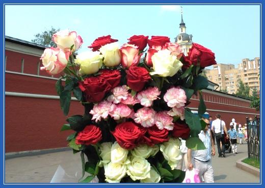 Цветы, букет, розы и гвоздики