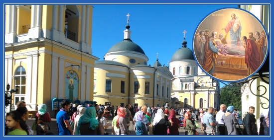 Покровский монастырь, Народ, очередь, святая Матрона, Успение Пресвятой Богородицы