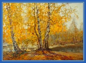 Березовая осень, желтые листья