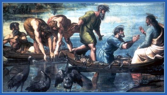 Чудесная ловля рыб, озеро, Иисус Христос