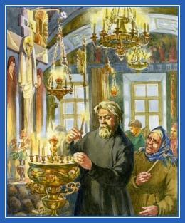 Храм, свечи, подсвечник, странник