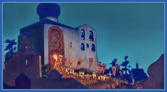 Крестный ход, храм, икона Божией Матери