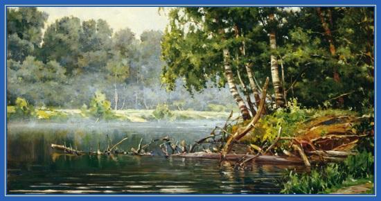 Картина, лето, пруд, река, березы