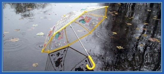 Осень, зонтик, дождь, лужа