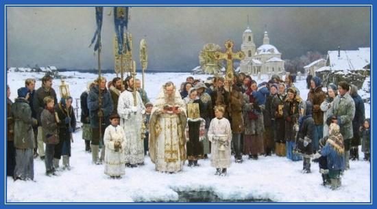 Крестный ход, Иордань, зима, освящение воды, Русь