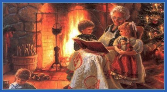 Бабушка читает сказки, Рождество, елка
