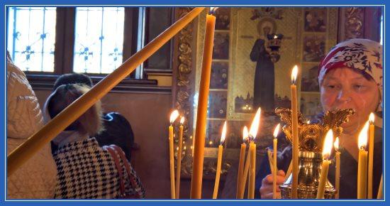 Свеча за жертвователей пред иконой блаженной Матроны