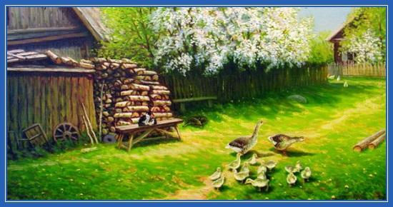 Май, Весна, гуси, Цветут деревья, деревня