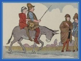 Отец и сын едут на осле, осел