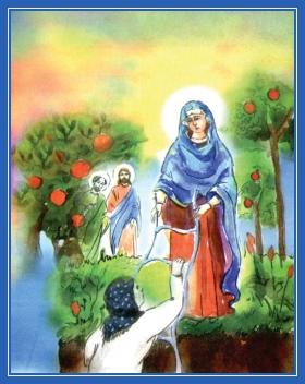 Пресвятая Богородице в Раю, спасает по леснице