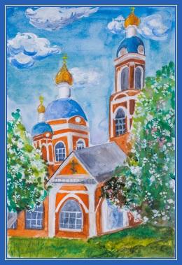 Храм, Церковь, детский рисунок, картина