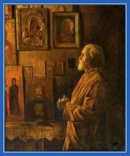 Молитва, домашняя, келья, мужчина, моление