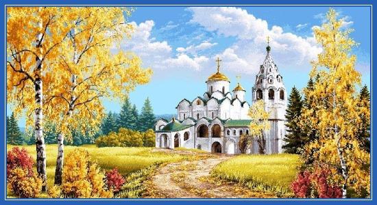 Православный храм, дорога к храму, Осень