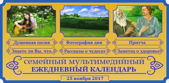 Семейный православный календарь на 25 ноября