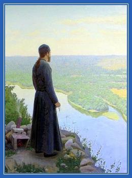 Монах, река, безмолвие, молитва