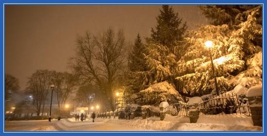 Снег, улица, фонарные столбы
