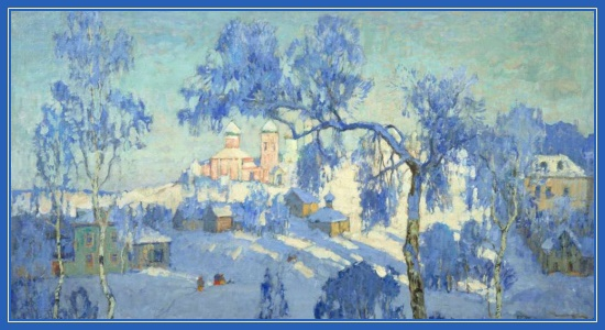Зимний пейзаж с церковью. К. И. Горбатов