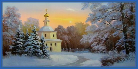 Храм в зимнем лесу