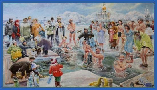 Иордань, дети, Крещение, купание в воде