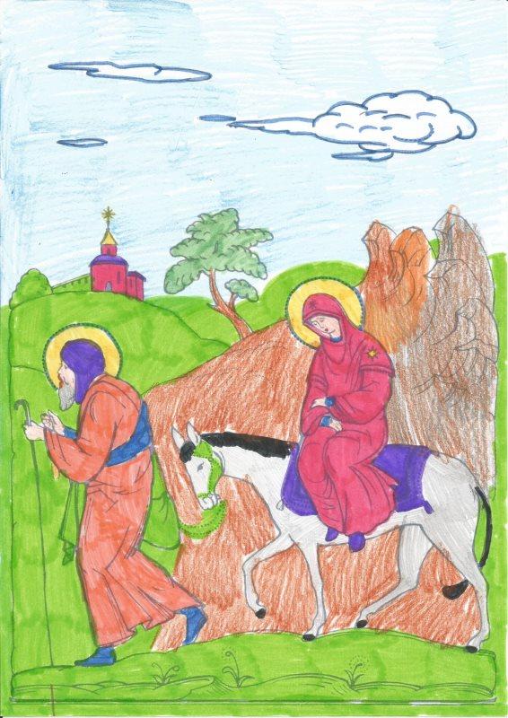 Путешествие в Вифлеем. Раскрасила Матрона (5 лет)