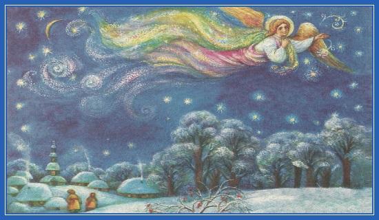 Рождественский Ангел расписывает небо!
