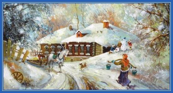 Русская зима, снеговик