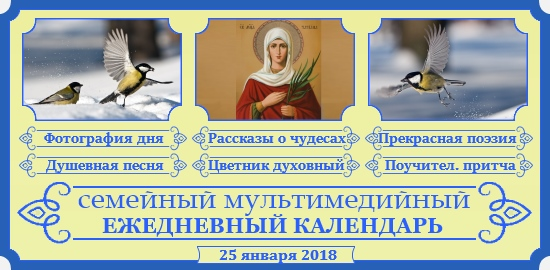 Семейный православный календарь на 25 января