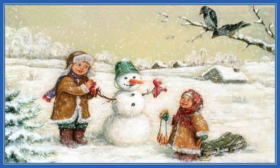 Снеговики, картина, дети