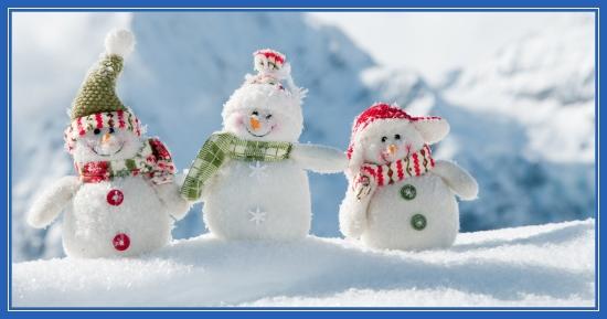 Три снеговика, зима, снег