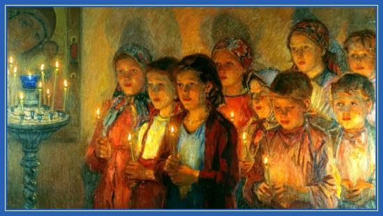 Дети в церкви, со свечами