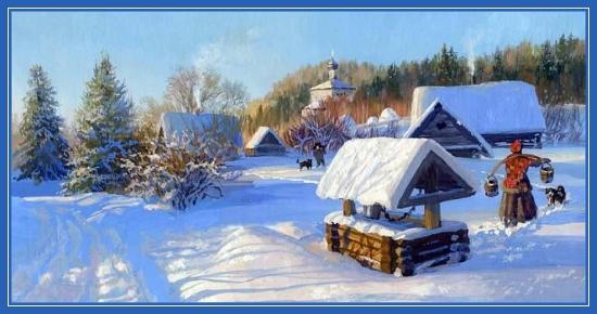 Зима в деревне, храм, село, колодец