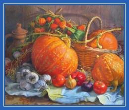 Овощи, тыква, помидоры, лук, чеснок, картина
