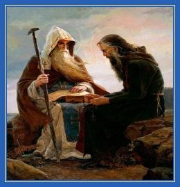 Старец, монах, Антоний и Феодосий, беседа