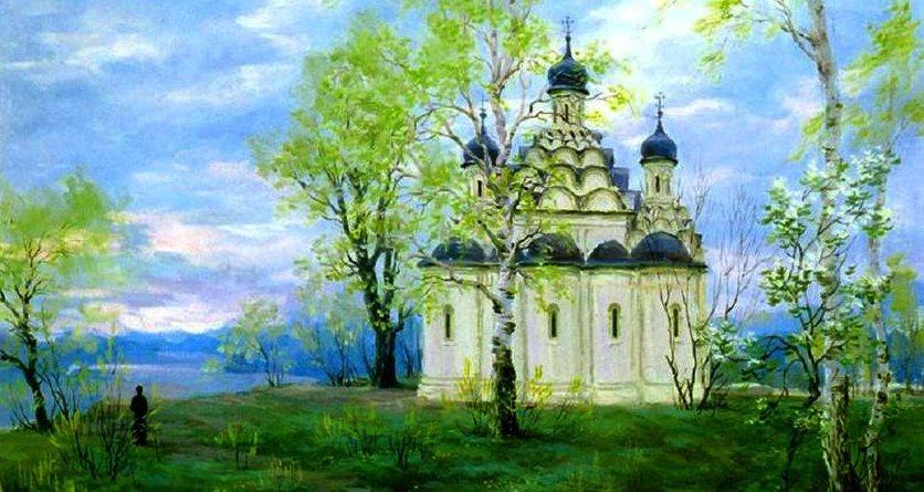 Весенний пейзаж с храмом