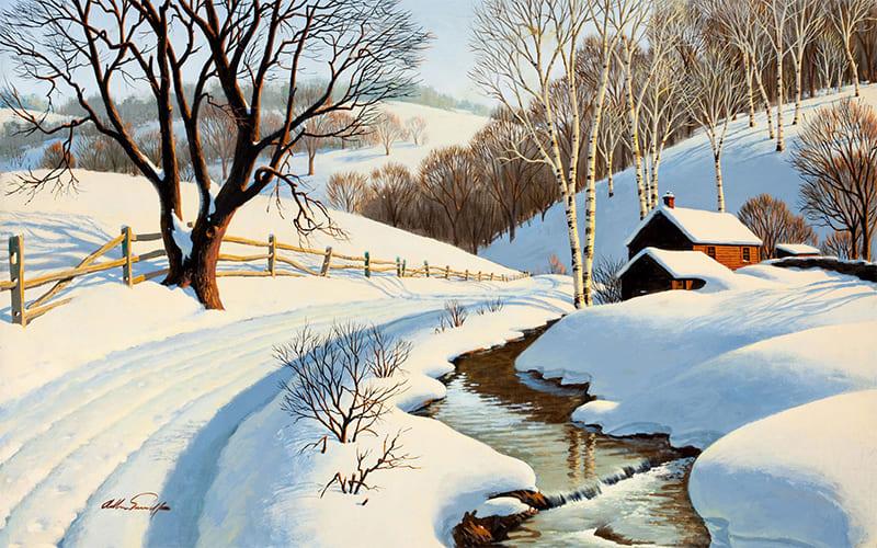 Зима. Речка. снег