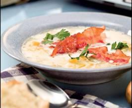 Кукурузный суп с беконом. Бефстроганов. Рецепты