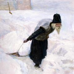 Послушливый монах на уборке снега