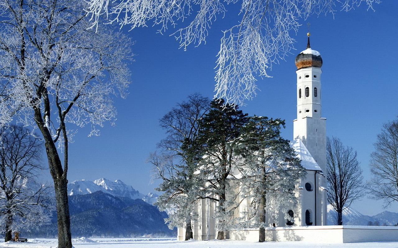Храм - горы - зима