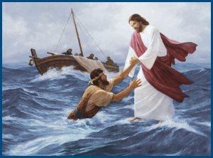 Апостол Петр, тонет, Господь спасает